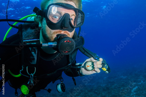A SCUBA diver running very low on air