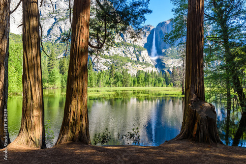 Foto auf Gartenposter Wasserfalle Yosemite National Park - Reflection in Merced River of Yosemite waterfall and beautiful mountain landscape, California, USA