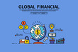 Flat line vector editable graphic illustration, business finance concept, Global financial