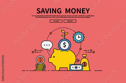 Plakat do biura rachunkowego  flat-line-vector-editable-graphic-illustration-business-finance-concept-saving-money