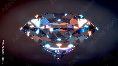 Photo Big Shiny Diamond with dark background. 3D render.