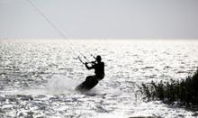 Kitesurfer In Action, Silhouet...