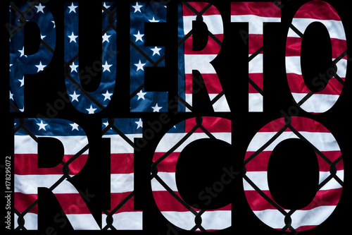 puerto rico hurricane letters with american flag in front of chain link fence Poster