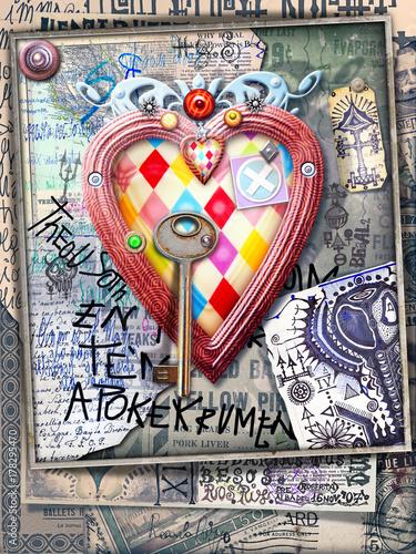 Papiers peints Imagination Vecchi manoscritti e disegni bizzarri con cuore a losanghe e chiave misteriosa