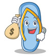 With money bag flip flops character cartoon