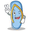 Two finger flip flops character cartoon