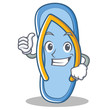 Thumbs up flip flops character cartoon