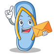 With envelope flip flops character cartoon