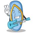 With guitar flip flops character cartoon