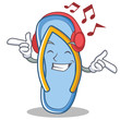 listening music flip flops character cartoon