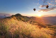 Hot Balloon Air Over Doi Chang At Sunset ,Chiang Rai, Thailand.