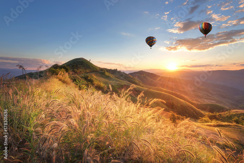 Foto auf Leinwand Dunkelbraun Hot balloon air over doi Chang at sunset ,Chiang Rai, Thailand.