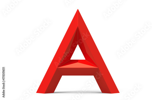 Valokuva  3D render red beveled alphabet A
