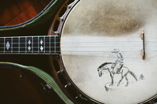 Vintage Banjo With Hand Drawn Image, Sitting In Case