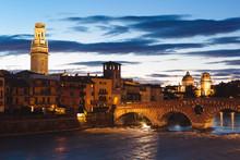 Verona, Adige River By Night