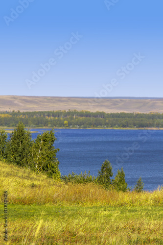 Fototapeta Great blue lake on a clear sunny day. obraz na płótnie