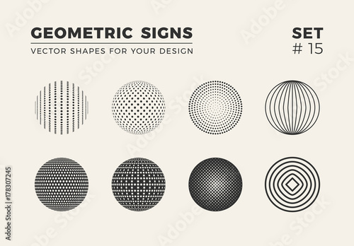 Fotografía  Set of eight minimalistic shapes