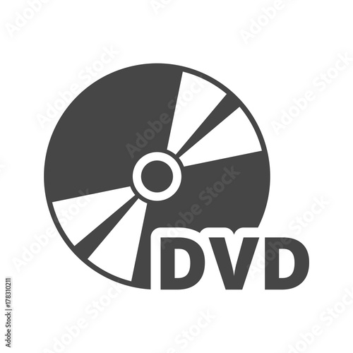 Fotomural  Black dvd icon isolated on white