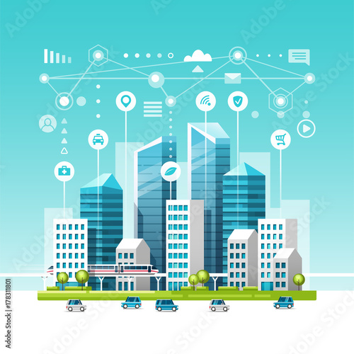 Spoed Foto op Canvas Turkoois Urban landscape with buildings, skyscrapers and transport traffic. Concept of smart city with different icons. Vector illustration.
