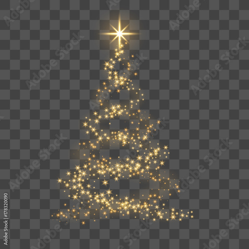 fototapeta na szkło Christmas tree on transparent background. Gold Christmas tree as symbol of Happy New Year, Merry Christmas holiday celebration. Golden light decoration. Bright shiny design Vector illustration