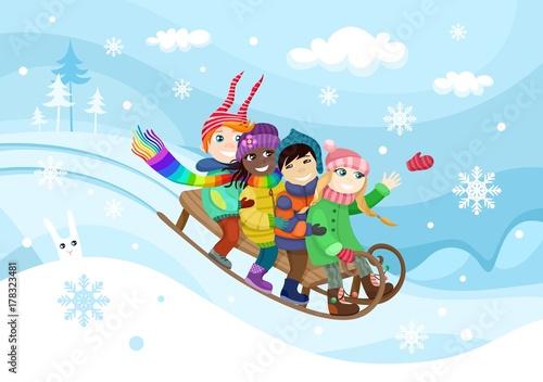 In de dag Regenboog winter fun