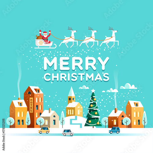 Spoed Foto op Canvas Turkoois Urban winter landscape. Snowy street. Santa Claus with deers in sky above the town. Merry Christmas and Happy New Year greeting card. Vector illustration.