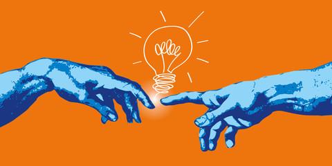 Michelangelo - ręka - pomysł - kreacja - koncepcja - kreatywność - kreatywność - żarówka, wyobraźnia - połączenie