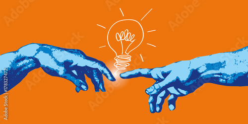 Obraz Michel Ange - main - idée - création - concept - créatif - créativité - ampoule, imagination - connexion - fototapety do salonu