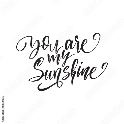 Staande foto Positive Typography You are my sunshine. Inspirational quote about life, positive phrase. Modern calligraphy text. Hand lettering design element. Ink brush calligraphy.