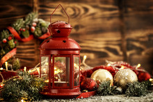 Christmas Balls And Lantern With Candle