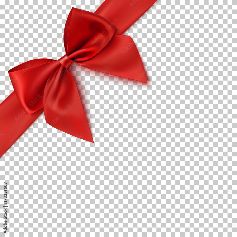 Fototapeta Realistic red bow and ribbon.
