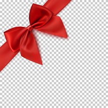 Realistic Red Bow And Ribbon.
