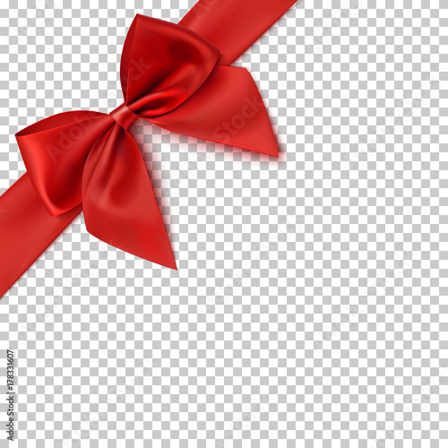 Realistic red bow and ribbon. Canvas