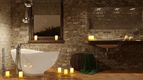 Fotografía  Bagno con vasca e candele romantiche