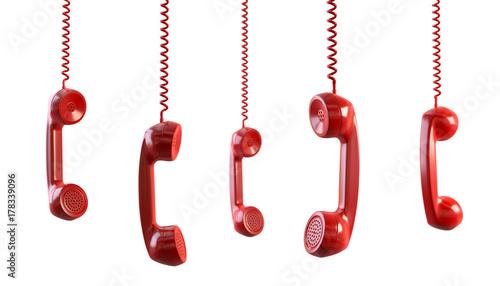 Obraz rote Telefonhörer als Freisteller - fototapety do salonu