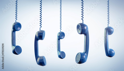 Obraz Telefonhörer blau - fototapety do salonu