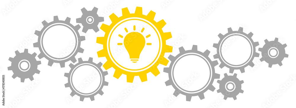 Fototapeta Gears Border Graphics Idea Grey/Yellow