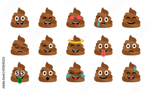 Cute funny poop set. Emotional shit icons. Happy emoji, emoticons Wallpaper Mural