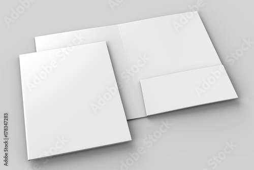 Valokuva  Blank white reinforced A4 single pocket folders on grey background for mock up