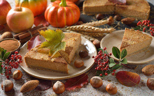 Plakat Jesienne pikantne ciasto z dyni