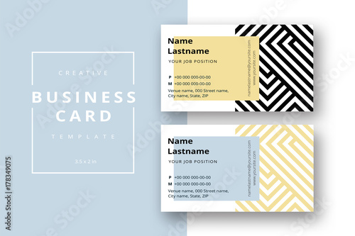 Trendy Minimal Abstract Business Card Template In Black And Gold - Business card information template