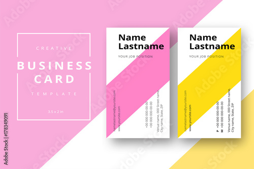 Trendy Minimal Abstract Business Card Template In Pink And Yellow Modern Corporate Stationary Id Layout