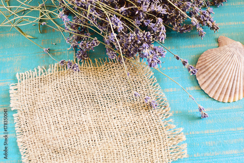 Spoed Foto op Canvas Spa sea shell and lavender on wooden background