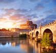 Saint Angelo Castle and bridge over the Tiber river in Rome