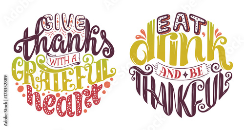 Fotografija  Hand drawn Thanksgiving typography poster