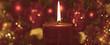 canvas print picture - Rote Kerze mit weihnachtlichem Hintergrund, Panorama