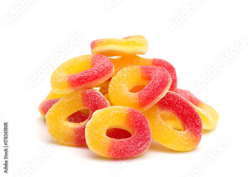 Aluminium Prints Candy Peach Gummies on a White Background