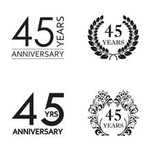 45 Years Anniversary Set. Anniversary Icon Emblem Or Label Collection. 45 Years Celebration And Congratulation Decoration Element. Vector Illustration.