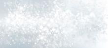 Vector Gray, Stars, Bokeh Background For Christmas Design.