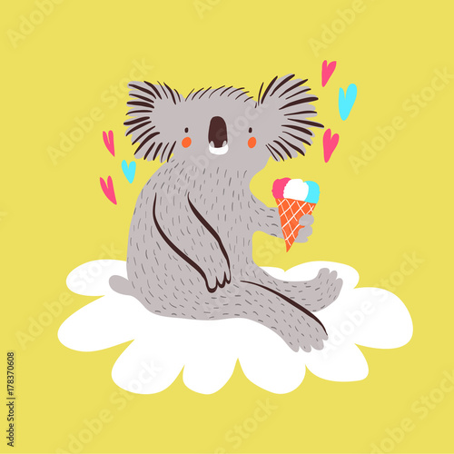Fotografie, Tablou  Cute baby koala with ice cream sitting on a cloud